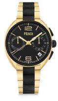 Fendi Momento Black & Goldtone Stainless Steel Chronograph Bracelet Watch
