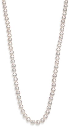 Mikimoto 7MM Cultured White Pearl Strand Long Necklace