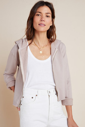 BEIGE Nina Cropped Zip-Up Hoodie By T.La in Size XS