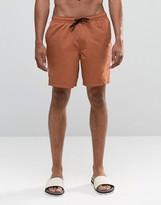 Asos Swim Shorts In Tobacco Mid Length