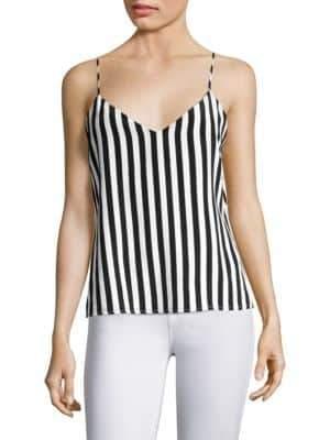 L'Agence Jane Striped Silk Tank Top