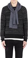 Barneys New York Men's Rib-Knit Scarf-DARK GREY