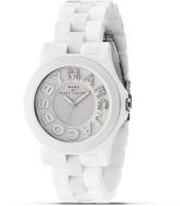 "Marc by Marc Jacobs Rivera"" White Glitz Logo Watch, 40mm"