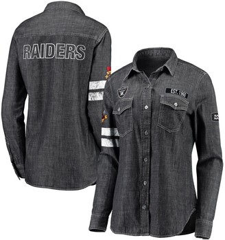 Unbranded Women's WEAR By Erin Andrews Heather Black Oakland Raiders Long Sleeve Button-Up Denim Shirt