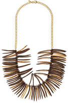 Kenneth Jay Lane Spikes and Gold Chain Necklace