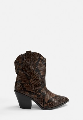 Missguided Brown Snake Western Ankle Boots