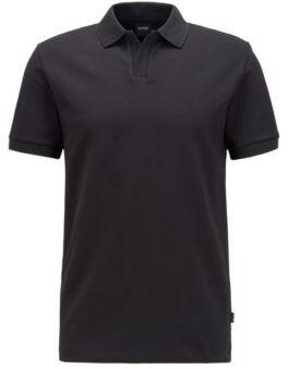 HUGO BOSS Stretch-cotton polo shirt with open collar