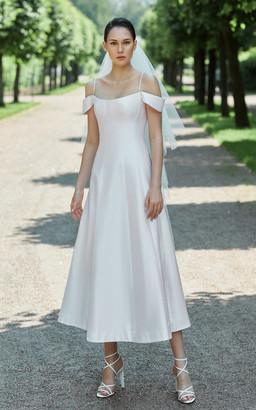 Rasario Bridal Off-The-Shoulder Silk Midi Dress