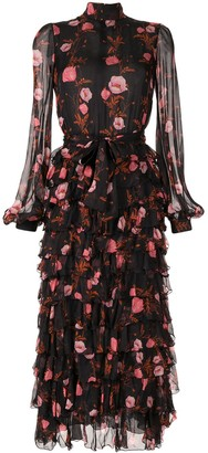 Giambattista Valli floral tiered ruffle dress