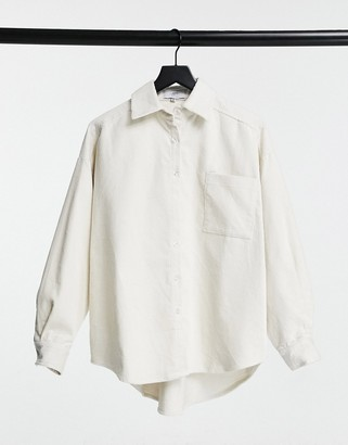Sixth June oversized shirt in cream cord