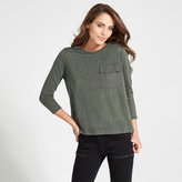 Apricot Grey Oversized Pocket Long Sleeved Top