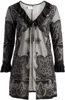 Glam Black & Gray Lace Tie-Front Open Cardigan - Plus