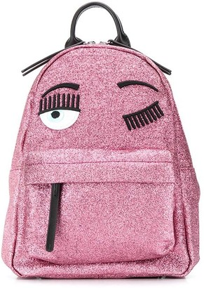 Chiara Ferragni winking eye glitter backpack