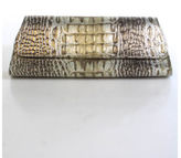 Jalda Gold Bronze Silver Metallic Crocodile Fold Over Magnetic Closure Clutch