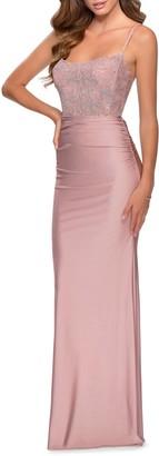 La Femme Lace & Jersey Trumpet Gown