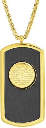Anthony Jacobs 18K Yellow Goldplated Two Tone Stainless Steel Prayer Dog Tag