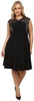 London Times Plus Size Lace Cap Sleeve Inset Waist Full Skirt