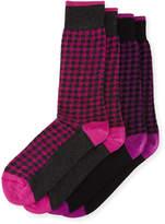 J.M. Dickens Two-Pair Houndstooth-Print Socks