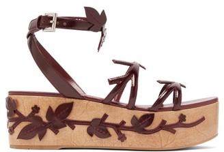 Prada Floral-applique Flatform Leather Sandals - Womens - Burgundy