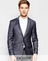 Number Eight Savile Row Exclusive Jacquard Blazer In Skinny Fit