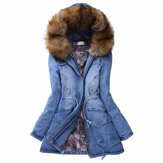 Toamen Women's Coat Toamen Womens Denim Hoodies Parka Jacket Coat Faux Fur Collar Hooded Slim Long Warm Winter Jean Outerwear Cardigans Overcoat(Blue 14)