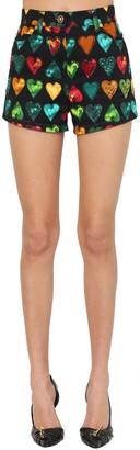 Versace Printed & Embellished Denim Shorts