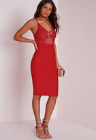 Missguided Embroidered Bust Detail Bodycon Dress Red