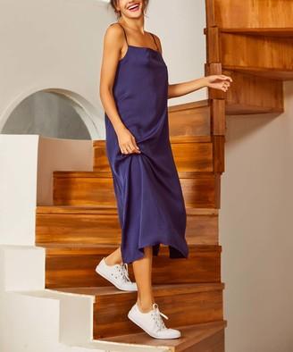 Simple By Suzanne Betro Simple by Suzanne Betro Women's Casual Dresses 101NAVY - Navy Sleeveless Satin Midi Dress - Women & Plus
