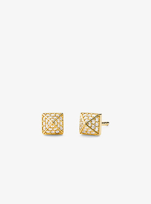Michael Kors Precious Metal-Plated Sterling Silver Pave Pyramid Stud Earrings - Gold
