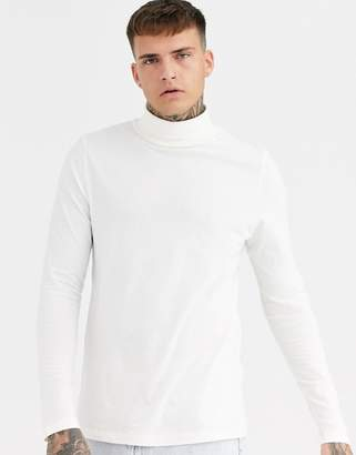 Asos Design DESIGN long sleeve jersey roll neck in off white