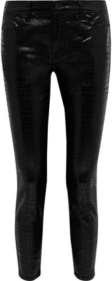 Frame Le High Skinny Cropped Croc-effect Mid-rise Skinny Jeans