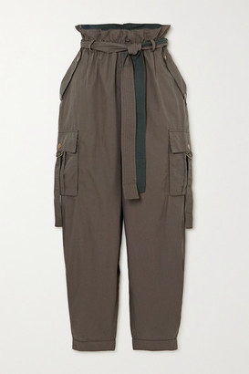 Ulla Johnson Willett Belted Cotton Tapered Pants - Army green