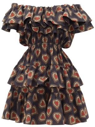 Rhode Resort Dotty Off-the-shoulder Heart-print Cotton Dress - Black Print