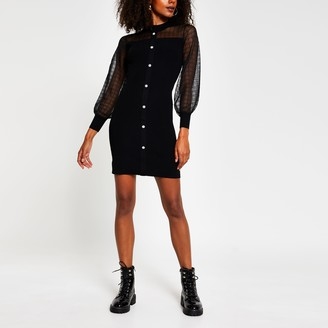 River Island Womens Black mesh knit bodycon dress