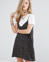 Pull&Bear 2 In 1 Floral Print Cami Slip Dress