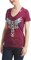 Rebel Spirit Purple Winged Cross V-Neck Tee - Women