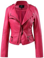 LingLuoFang LLF Women's Long Sleeve Faux Leather Moto Biker Short Jacket With Epaulet Reseo