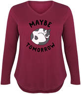 Instant Message Plus Women's Tee Shirts WINE - Wine 'Maybe Tomorrow' Cat Long-Sleeve Tee - Plus