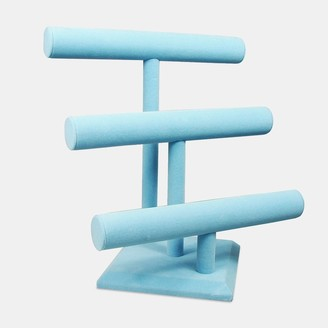 "Nile Corp Blue Velvet Bracelet Holder with 3 Tier Rack, 12""W x 9 3/4""D x 13 1/4""H"