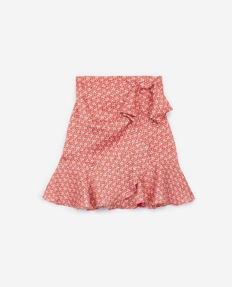 The Kooples Frilly short red skirt with floral motif
