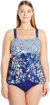 Maxine Of Hollywood Women's Plus Size Tropical Trip Draped One Piece Swimsuit with Adjustable Straps