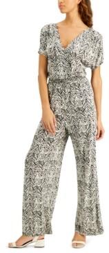 INC International Concepts Inc Zebra-Print Kimono-Sleeve Jumpsuit, Created for Macy's