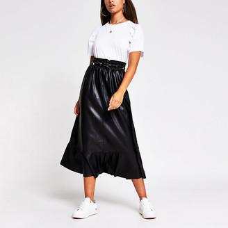 River Island Black faux leather midi skirt