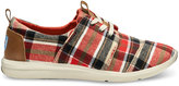 Toms Red and Tan Plaid Women's Del Rey Sneakers