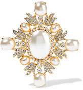 Kenneth Jay Lane Gold-plated, Crystal And Faux Pearl Brooch