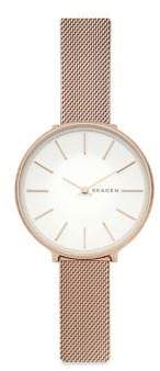 Skagen Karolina Rose-Goldtone Silk-Mesh Bracelet Watch