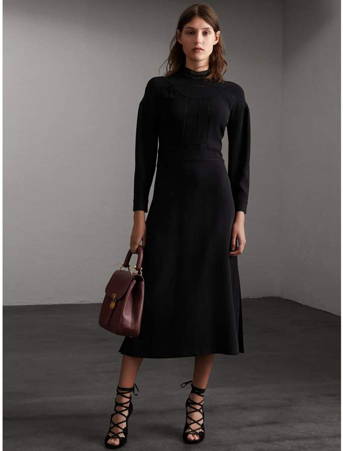 Burberry Stitch Detail Crepe High-neck Dress