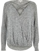 River Island Womens Grey strappy wrap front top