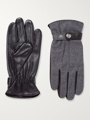 Dents Flannel and Leather Gloves - Men - Gray
