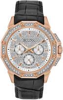 Bulova Men's Crystal-Accent Black Leather Strap Watch 43mm 98C125